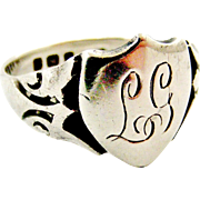 Antique sterling silver signet ring L G
