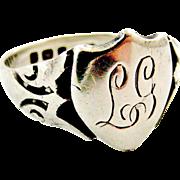 Antique sterling silver signet ring L G