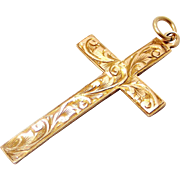 Antique Edwardian 9k gold rose yellow engraved cross.