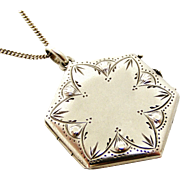 French antique 800-900 silver hexagonal locket and chain