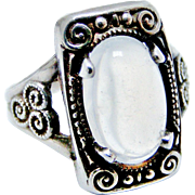 Swiss 935 silver Arts and Crafts moonstone ring tiny size 4