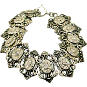 French antique gothic revival silver bracelet
