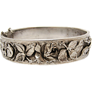 Fabulous French art nouveau repousse silver rose bangle