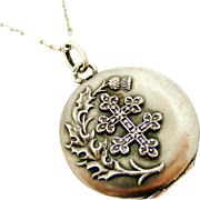 French antique 800-900 silver cross of Lorraine locket and chain