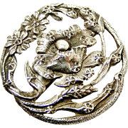 French art nouveau 800-900 silver poppy brooch