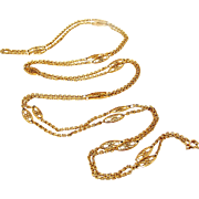 French antique 18k gold fill muff chain by Murat