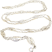 French antique 800-900 silver filigree muff chain 56 inches long