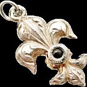 French antique 800-900 silver fleur de lis stanhope fob charm