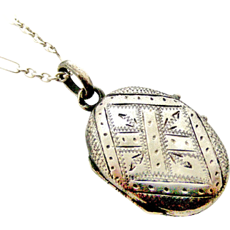 Antique French 800-900 silver little oval locket and chain