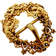 Antique French gilt ormolu 18th century buckle with cherubs