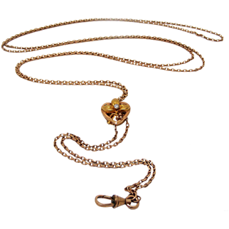 French art nouveau rose gold filled muff chain with paste slider