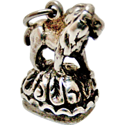 Sterling silver lion seal fob charm