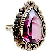 Art deco statement sterling silver cocktail ring synthetic Alexandrite