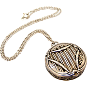 French art nouveau silver compact locket and chain