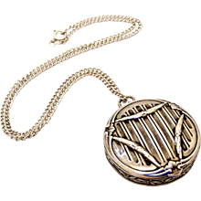 French art nouveau silver compact or pill box mirror locket and chain