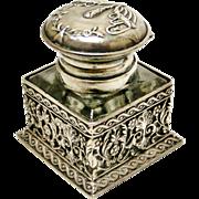 Superb vintage European sterling silver filigree inkwell
