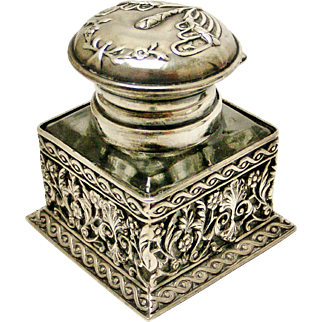 Superb vintage European sterling silver filigree inkwell