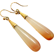 Victorian peach agate tapered drop earrings with 9k gold hooks