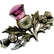 Antique Charles Horner sterling silver thistle brooch 1908