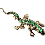 Antique French 900 silver emerald paste lizard brooch