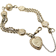 Pretty Victorian sterling silver albertina bracelet with puffy heart charm