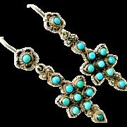 Vintage European 800 silver natural turquoise earrings