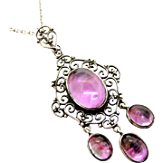 Antique Edwardian silver amethyst lavaliere pendant and chain