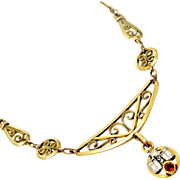 French gold filled art deco necklace with paste ruby