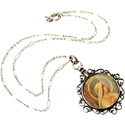 Antique French screw top picture frame locket and chain