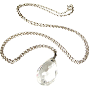 Rock crystal pear shape pendant on 40 inch sterling chain