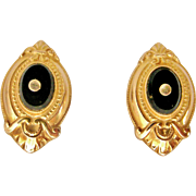 Victorian revival 9k gold and onyx stud earrings