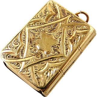 Beautiful French antique gold fill book locket