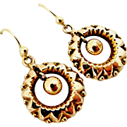 English Victorian 9k gold dangling earrings