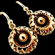 English Victorian 9k gold dangling earrings