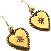 Edwardian English 9k gold heart earrings with tiny diamond