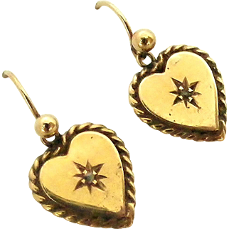 Edwardian English 9k gold heart earrings with tiny diamond