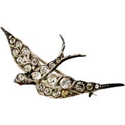 French paste 800 silver swallow brooch