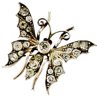 Beautiful antique sterling silver paste butterfly brooch