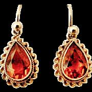 English vintage 9k gold citrine earrings