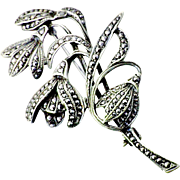 Vintage sterling silver marcasite Snowdrops brooch