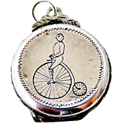 Rare English penny farthing bicycle watch fob locket