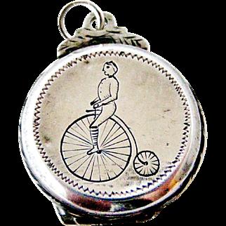 Rare English penny farthing bicycle watch fob locket
