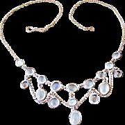 Edwardian moonstone festoon necklace in silver plate