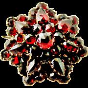 Antique Victorian bohemian garnet cluster brooch