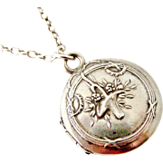 French antique 800 silver locket and chain