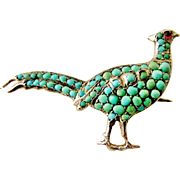 European 800 silver antique pave turquoise pheasant brooch