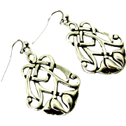 Sterling silver art nouveau style flower earrings