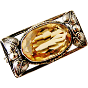 Arts and crafts Swiss sterling silver brooch with citrine