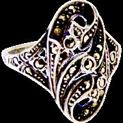 Antique art nouveau sterling silver marcasite ring