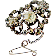 Antique Georgian French paste brooch in sterling silver